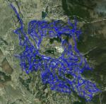 Картата с улиците на Рударци представена върху сателитната снимка от Google Maps